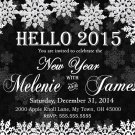 New Year Digital Invitation Snowflake White Printable Personalized 2015 New Year Invitation