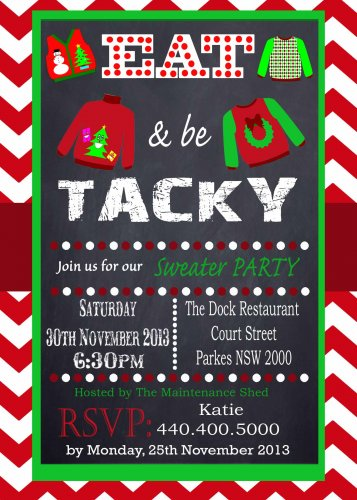 Tacky Sweater Party Invitation Chevron Red Chalkboard Uly Sweater Office Party Printable