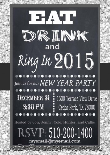 Eat Drink and Ring In the New Year Digital Invitation Chevron Gray Chalkboard Printable
