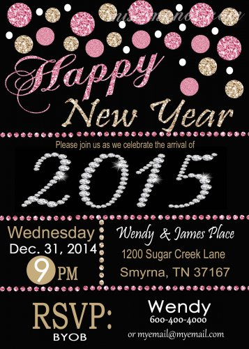 New Years Invite 2015 Digital Invitation Glitter Pink Gold Printable Personalized