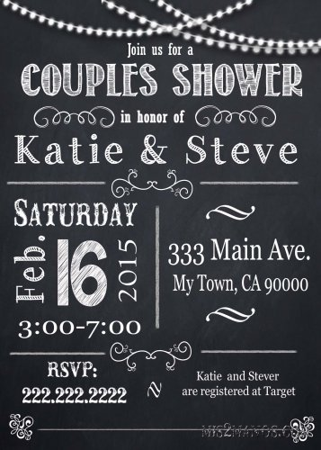Couples Shower invitation, custom Party invitation, custom chalkboard invite