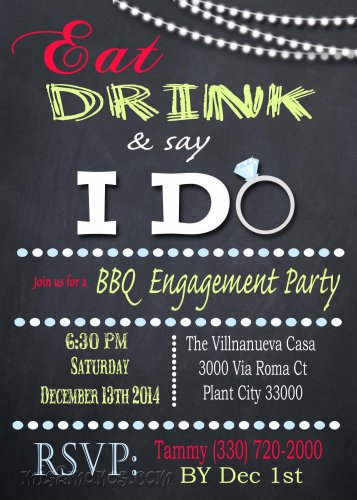 I Do Couples Shower Engagement Party or Bridal Shower Eat Drink and say I Do