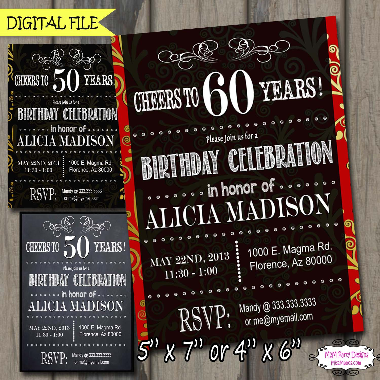 Cheers To 30 40 50 60 70 80 90 Years Adult Birthday Party Chalkboard Printable Invitations