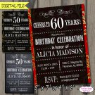 Cheers to 30 40 50 60 70 80 90 Years, Adult Birthday Party, Chalkboard Printable Invitations