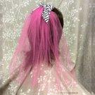 Hot Pink Zebra Veil, Party Veil, Bachelorette Veil, One Layer Veil- Hot Pink Veil