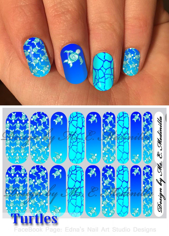 Jamberry Nail Wraps Blue Turtle Design  CUSTOM NAS