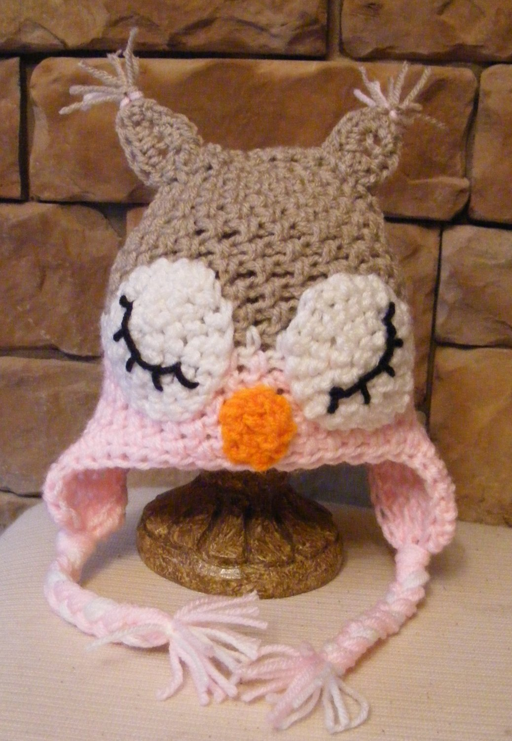Light Pink and beige sleeping owl photo prop or winter hat