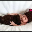 Baby Bear cocoon and hat set Newborn and up photo props photography
