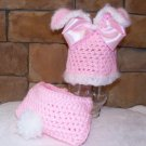 Baby Bunny diaper cover and hat set photo props