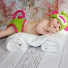 Newborn monkey set hot pink and green photo prop photgraphy