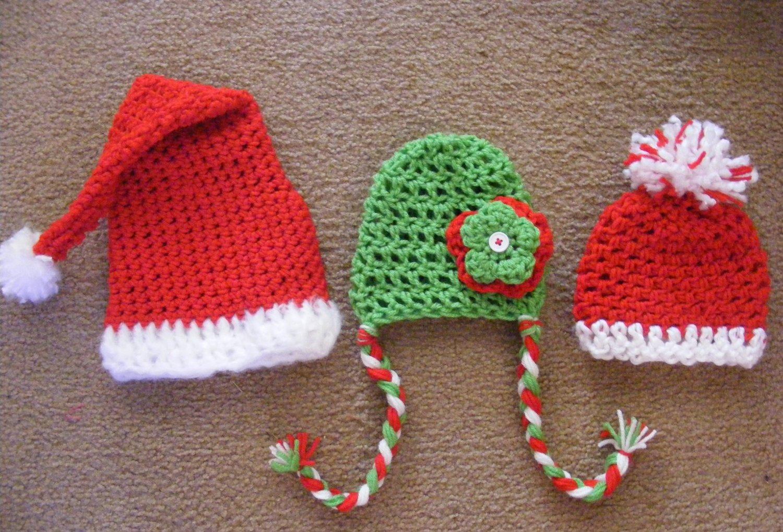 Newborn christmas santa claus plus 2 other christmas hatshat photo props