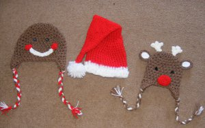 Pick your sizes christmas santa claus , reindeer , gingerbread man hat photo props