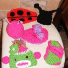 Newborn baby girl  crochet cape and hats  sets  LOT OOAK EASTER