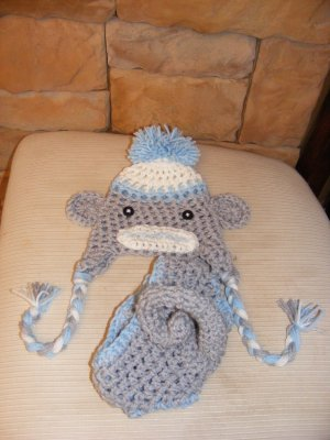 Monkey hat and diaper covers photo props boy choose size.