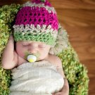 Newborn baby girl  crochet beanie So beautiful Valentines day photo prop photography