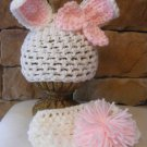 white and pink  bunny  hat and diaper cover photo prop  girl or boy Newborn
