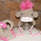 Monkey hat and diaper covers photo props girl