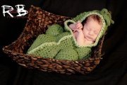 Newborn pea pod hooded cocoon with 3 matching pea's