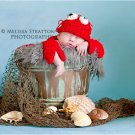 newborn lobster cape and hat crochet photo prop Girl