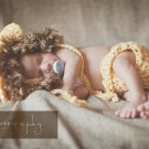 Newborn baby lion crochet diaper cover and bonnet set photo prop protography