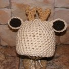 crochet  deer beanie hat photo prop all sizes