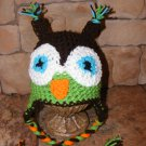 owl hat newborn or 0-3 months  photo props /winter wear