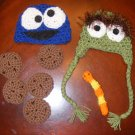 Newborn photo prop baby cookie monster & oscar the grouch  Crochet Hat photo props photography