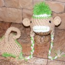 Monkey hat and diaper covers photo props you choose size.