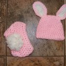 Girl bunny hat and diaper covers photo props Newborn easter