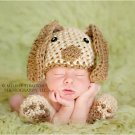Newborn photo prop puppy  hat and booties set photo prop halloween