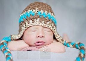 Newborn baby boy crochet photo prop or winter hat