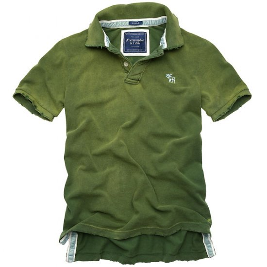 NWT Abrcrombie Deer Brook Destroyed Men Polos Green