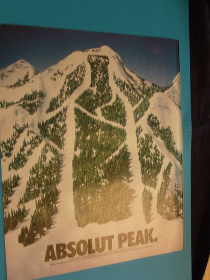 1992 Absolut Vodka Snowy Mountain Print Ad