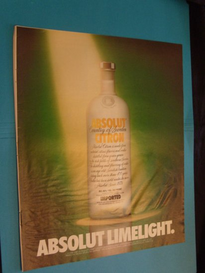 1992 Absolute Vodka Limelight Ad