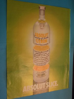 Absolut Vodka Slice Print Ad 1992