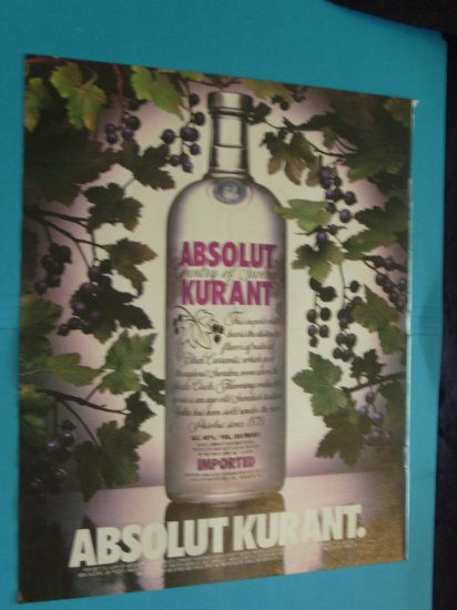 Absolut Vodka Black Currant 1992