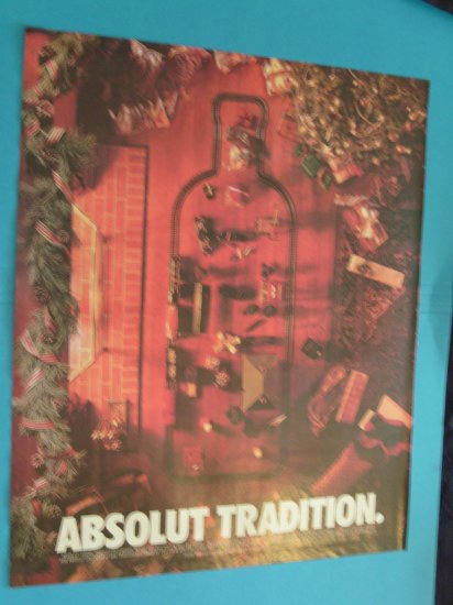 Absolut Tradition Vodka Train Christmas Print Ad