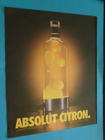 Absolut Citron Lava Lamp Vodka Print Ad