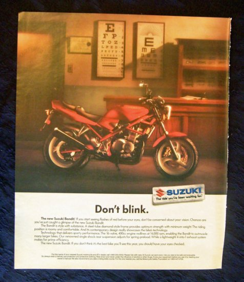 1991 Suzuki Bandit Motorcycle Print Ad