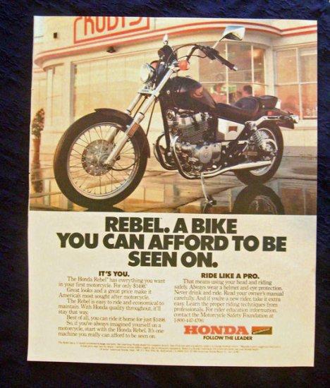 Vintage 1986 Black Honda Rebel Print Ad