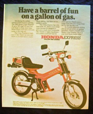 Vintage 1982 Honda Express Motorcycle Scooter Print Ad