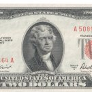 F#1510 U.S.A. 2 Dollars Legal Tender United States Note 1953-A (Red Seal) UNC