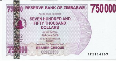 P52 Zimbabwe 750,000 Dollars Emergency Bearer Cheque 2007 GUNC