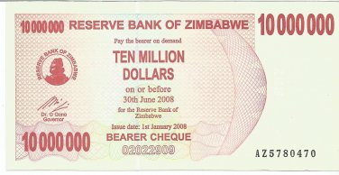 P55 Zimbabwe 10,000,000 Dollars Emergency Bearer Cheque 2008 AU