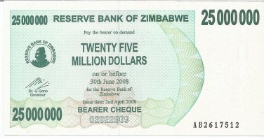 P56 Zimbabwe 25,000,000 Dollars Emergency Bearer Cheque 2008 CUNC