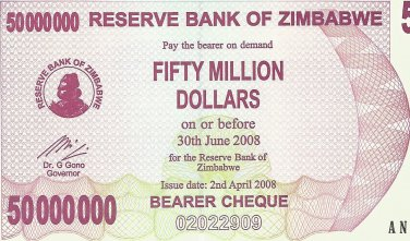 P57 Zimbabwe 50,000,000 Dollars Emergency Bearer Cheque 2008 GUNC