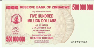 P60 Zimbabwe 500,000,000 Dollars Emergency Bearer Cheque 2008 GUNC