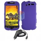 For HTC MyTouch 4G / Panache 4G Car Charger +Cover Hard Case Purple
