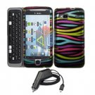 For HTC Desire Z Car Charger + Cover Hard Case Rainbow