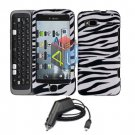 For HTC Desire Z Car Charger + Cover Hard Case Zebra